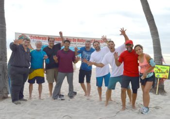 Hundreds turned out for the 17th annual Groundhog Day Swim at Hollywood Beach.